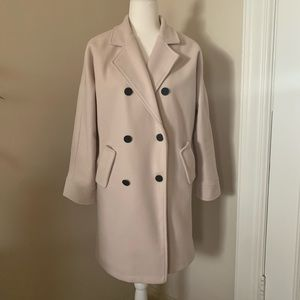 Jackets & Blazers - Long blush pink peacoat with quilted interior